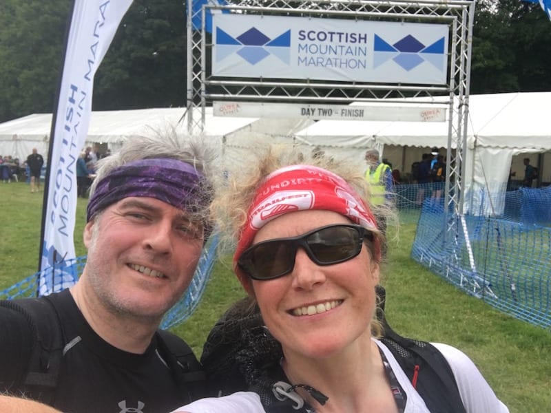 Rob and I at the finish line of the Scottish Mountain Marathon.