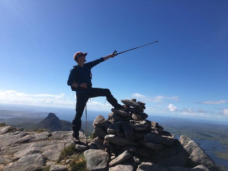 A fine Man Leg pose on the summit of Cul Beag