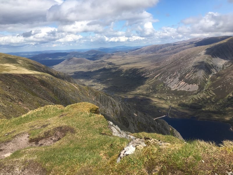 View over beautiful Loch Einich from the summit of Sgor Gaoith.