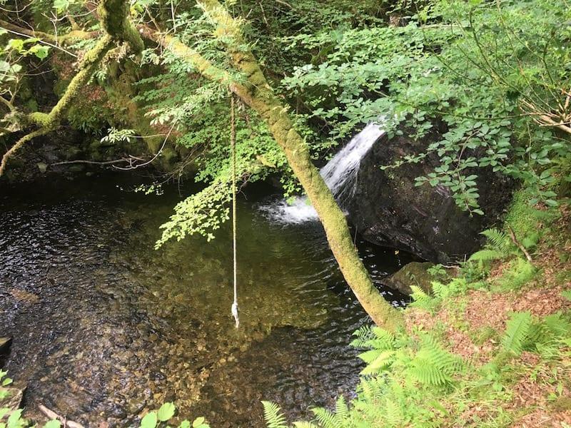 Waterfall, pool and swing.