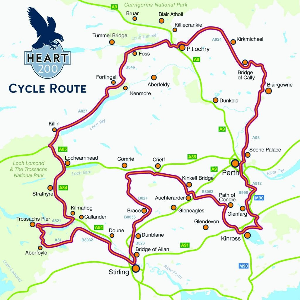 A map of the recommended Heart 200 route for cyclists.