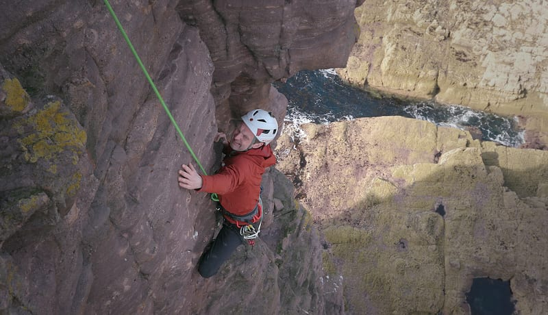 Red on the second pitch of Am Buachaille. Credit: Keith Partridge