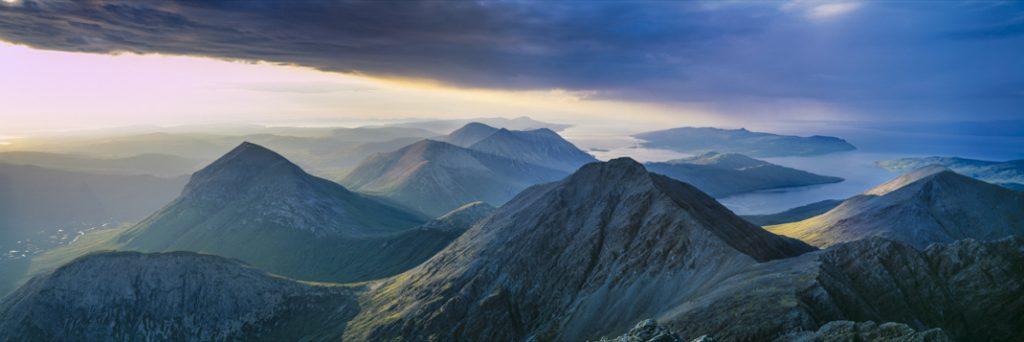 Marsco and Garbh-bheinn, Red Cuillin, from Blaven, Skye, Highlands. Credit: Colin Prior