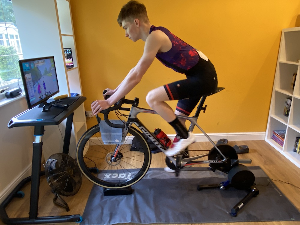 Harry makes use of his turbo trainer and Zwift.