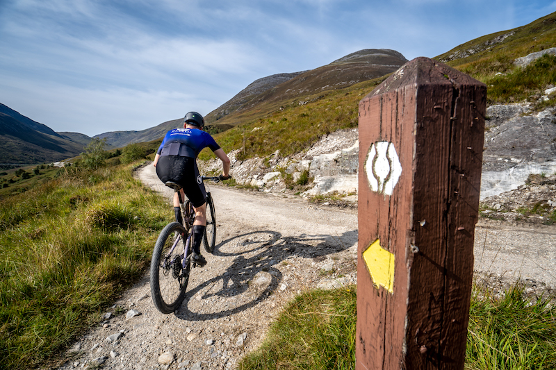 Rab Wardell rides record West Highland Way time. Credit: Brodie Hood