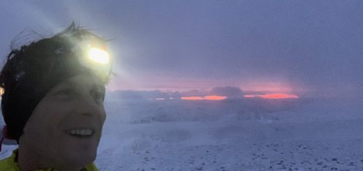Shane Ohly on Fairfield Summit as part of his solo, unsupported winter Bob Graham Round