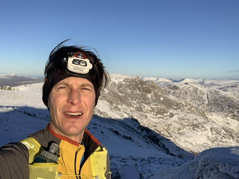 Shane Ohly on Scafell Summit as part of his solo, unsupported winter Bob Graham Round