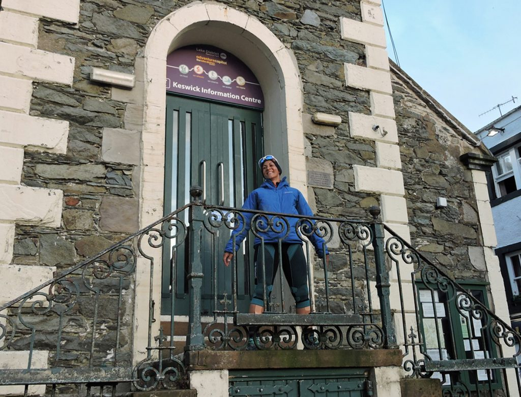 Sabrina Verjee at the Moot Hall in Keswick after completing her 2020 Wainwrights round - photo Chris Lines