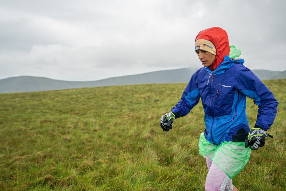 Sabrina Verjee moving in poor weather on Dove Crag during her 2020 Wainwrights round - copyright Steve Ashworth