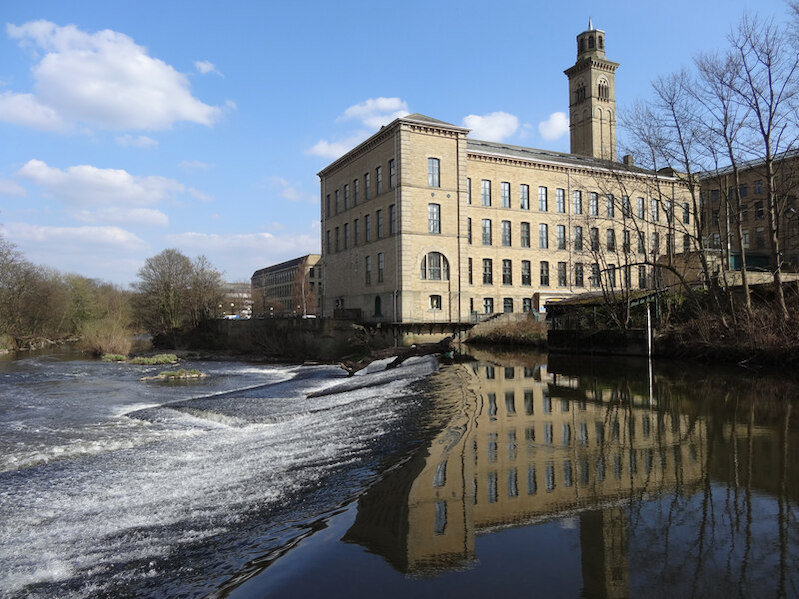 Saltaire Weir, River Aire by-habiloid (1)