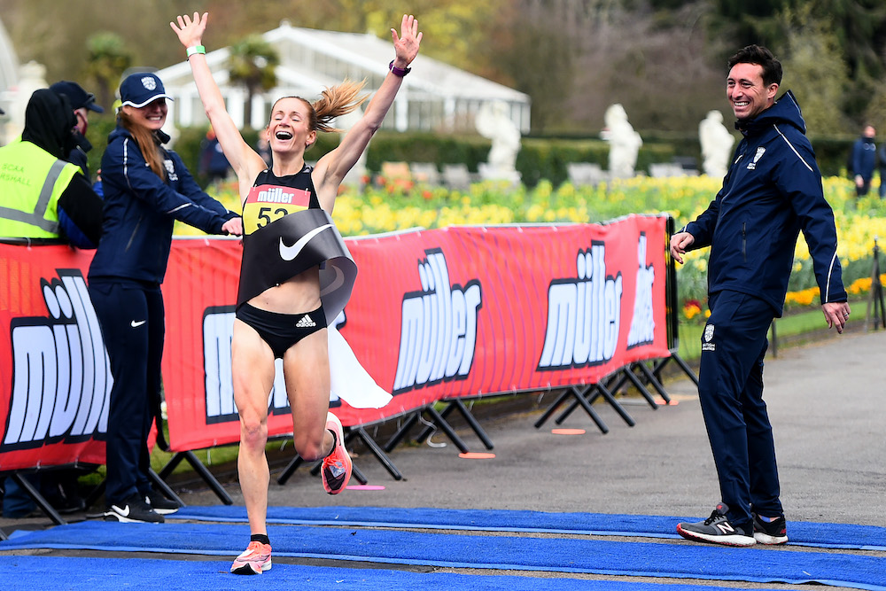 Stephanie Davis crosses the line first to win the women's marathon race during the Muller British Athletics Marathon and at Kew Gardens. Credit:  Tom Dulat / British Athletics / Getty Images