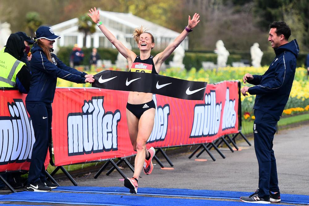 Stephanie Davis wins Olympics marathon qualifier on March 26, 2021. Credit: British Athletics / Getty Images